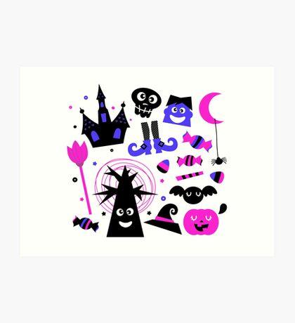 Cute Halloween cartoon elements. Purple black Art Print