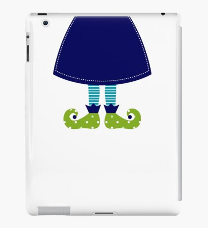 Christmas elf cartoon legs : cartoon illustration / Folk blue iPad Case/Skin