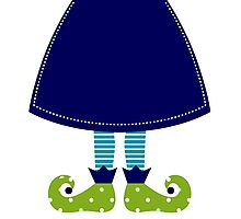 Christmas elf cartoon legs : cartoon illustration / Folk blue Photographic Print