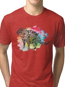 Tasmanian Devil over Watercolour Splash Tri-blend T-Shirt
