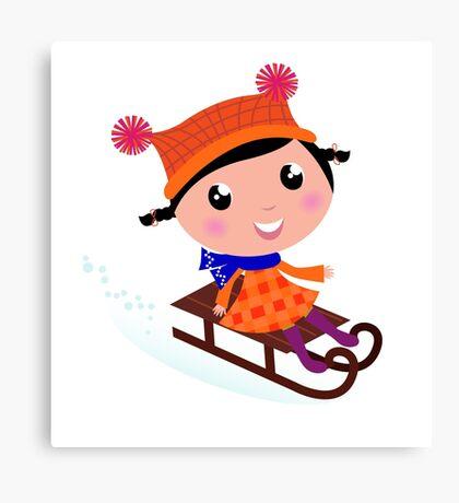 Cute Girl sledding in Winter. Vector cartoon Illustration Canvas Print
