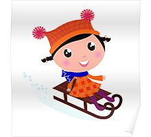 Cute Girl sledding in Winter. Vector cartoon Illustration Poster