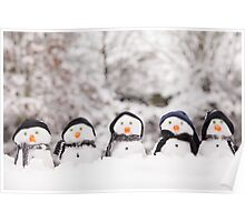 Five cute snowmen dressed for winter Poster