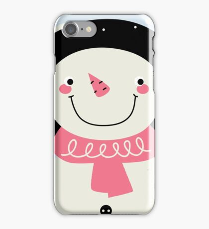 Cute Snowman Vector cartoon Illustration / pink iPhone Case/Skin