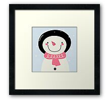 Cute Snowman Vector cartoon Illustration / pink Framed Print