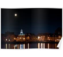 Building night lights and water reflection and moon Poster