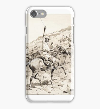FREDERIC REMINGTON () Uprising of the Yaqui Indians – Yaqui Warriors in Retreat (circa 1896) ink wash on paper iPhone Case/Skin