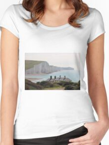 Seven Sisters Coastguard Cottages Women's Fitted Scoop T-Shirt