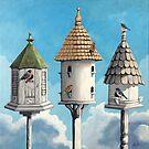 Cul de Sac - birdhouses  by LindaAppleArt