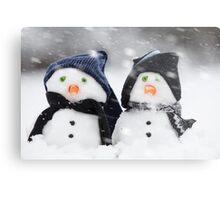wo cute little snowman dressed for winter Metal Print