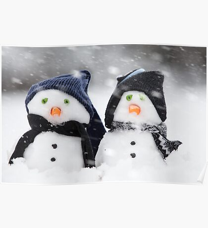 wo cute little snowman dressed for winter Poster
