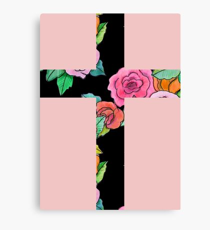 Christian Cross with roses Canvas Print