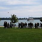 Tourists And Toronto Island Ferry by Marie Van Schie