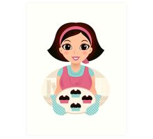 Christmas cooking lady / Our shop bestseller Art Print