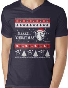 Pitbull Ugly Christmas Sweater Merry Christmas Mens V-Neck T-Shirt