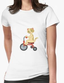 Cat On a Tricycle Womens Fitted T-Shirt