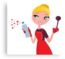 Blond Woman in red apron cleaning and cooking Canvas Print
