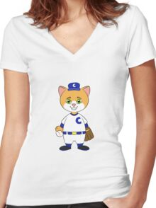 Cat Playing Baseball Women's Fitted V-Neck T-Shirt