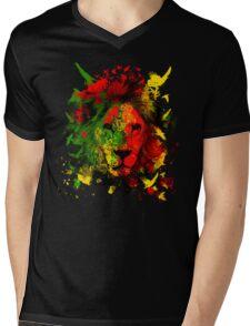 Rasta Lion Mens V-Neck T-Shirt