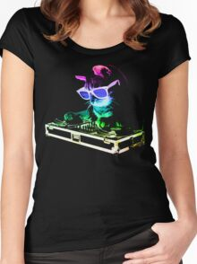 Rainbow DJ Cat Women's Fitted Scoop T-Shirt