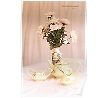 Vintage Teapot, sugar and Cream Poster