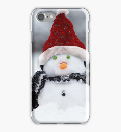 Snowmen with Christmas hats iPhone Case/Skin