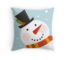 Good morning, Snowman! Cute art illustration Throw Pillow