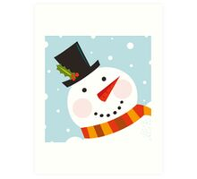 Good morning, Snowman! Cute art illustration Art Print