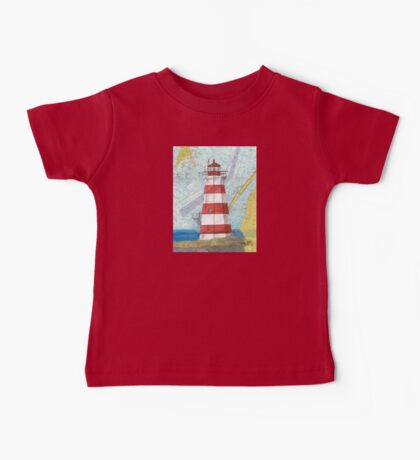 Brier Island Lighthouse NS Canada Nautical Map Cathy Peek Baby Tee