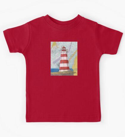 Brier Island Lighthouse NS Canada Nautical Map Cathy Peek Kids Tee