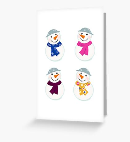 Colorful vector snowman icons : art illustration Greeting Card