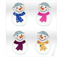 Colorful vector snowman icons : art illustration Poster