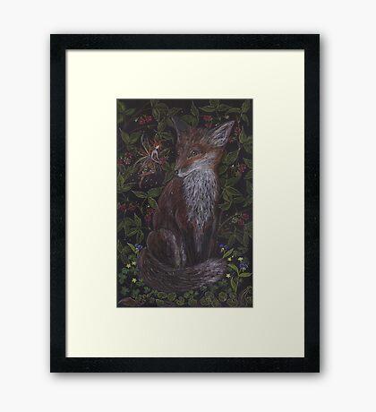 Fox in the Raspberries Framed Print