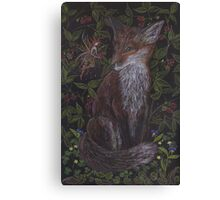 Fox in the Raspberries Canvas Print