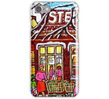 STEINBERG'S GROCERY STORE SCHOOL BUS AND HOCKEY WINTER SCENE iPhone Case/Skin
