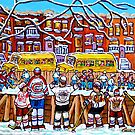 OUTDOOR NEIGHBORHOOD RINK SCHOOL BUSES WITH 6-TEAM JERSEYS by Carole  Spandau