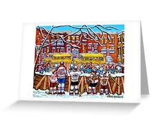 OUTDOOR NEIGHBORHOOD RINK SCHOOL BUSES WITH 6-TEAM JERSEYS Greeting Card