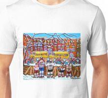 OUTDOOR NEIGHBORHOOD RINK SCHOOL BUSES WITH 6-TEAM JERSEYS Unisex T-Shirt