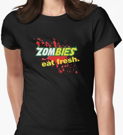 Zombies Eat Fresh Variant Womens Fitted T-Shirt