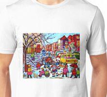 NEIGHBORHOOD WINTER FUN MONTREAL WINTER STREET SCENE WITH HOCKEY GAME Unisex T-Shirt