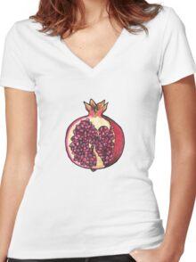 Pomegranate  Women's Fitted V-Neck T-Shirt