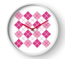 Pink Argyle Design Clock