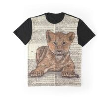 Lion Cub on Dictionary Paper Graphic T-Shirt