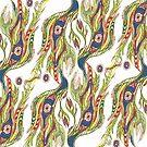 Flowers and Birds Folk Art Pattern by Linandara