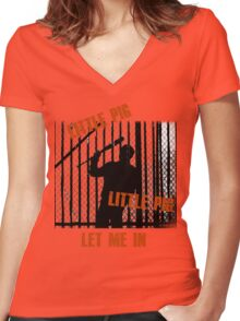 Little Pig..Little Pig Women's Fitted V-Neck T-Shirt