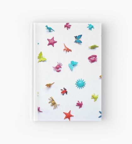 Multicolor Toy Flat Lay - Dinos, frogs, butterflies and undersea creatures Hardcover Journal