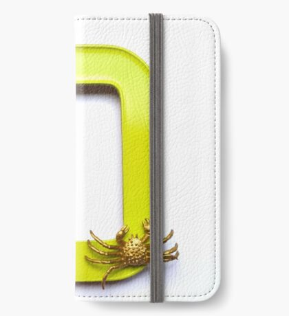 Blue butterfly and gold crab sit on a frame iPhone Wallet/Case/Skin