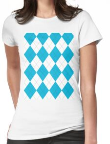 Turquoise and White Argyle Womens Fitted T-Shirt