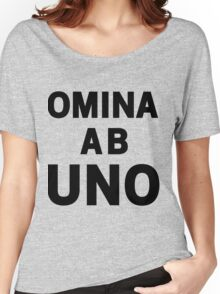 Omina Ab Uno [All As One] | Black Ink Women's Relaxed Fit T-Shirt