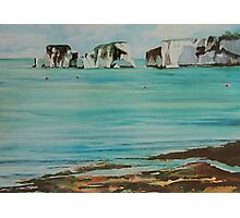 Old Harry Rock Watercolour Photographic Print